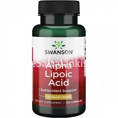 "ALFA LIPO RŪGŠTIS 100 mg. 120 kap. ""SWANSON"""