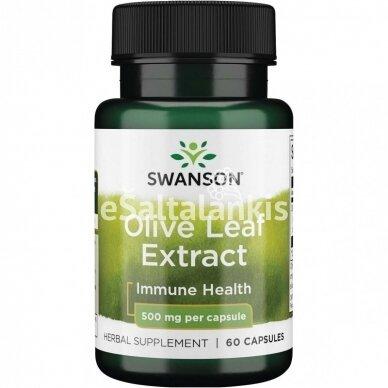 """ALYVUOGIŲ LAPŲ (OLEUROPEIN) EKSTRAKTAS 500 mg. 60 kap. """"SWANSON"""""""