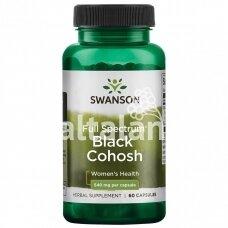 """BLACK COHOSH """"BLAKĖŽUDĖ"""" (KEKINĖ JUODŽOLĖ) 540 mg. 60 kap. """"SWANSON"""""""