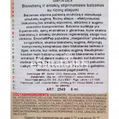 """Blakstienų ir antakių stiprinamasis balzamas su ricinų aliejumi 6 ml. """"Belita"""" 3"""