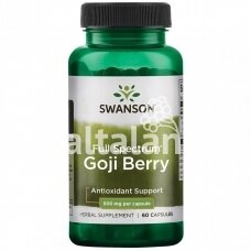 """GOJI BERRY (ožerškio uogų milteliai) 500 mg. 60 kap. """"SWANSON"""""""
