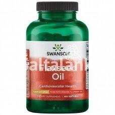 """LINŲ SĖMENŲ ALIEJUS 1000 mg. 100 minkštų kap. """"SWANSON"""""""