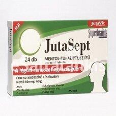 "Maisto papildas ""JutaSept"" mėtų skonio pastilės su mentoliu, eukaliptais, šalavijumi ir vitaminu C, 24 pastilės"