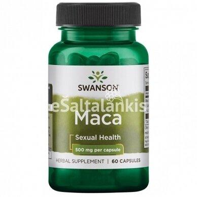 """Maisto papildas MACA 500 mg. 60 kap. """"SWANSON"""""""