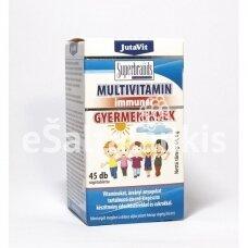"""Maisto papildas Multivitamin Immuner Vaikams su laktobacilomis 45 kramtomųjų tab. (vaisių skonio)  """"JutaVit"""""""