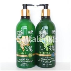 """Šampūnas ir kaukė """"Renovation"""" Atkūriamoji """"Botanica"""" po 490 ml."""