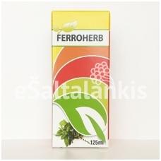 FERROHERB skystosios geležies formulė su folio rūgštimi, vitaminais B1, B2, B5, B6, B7, B12, C, E ir vaistažolių ekstraktais 125 ml.