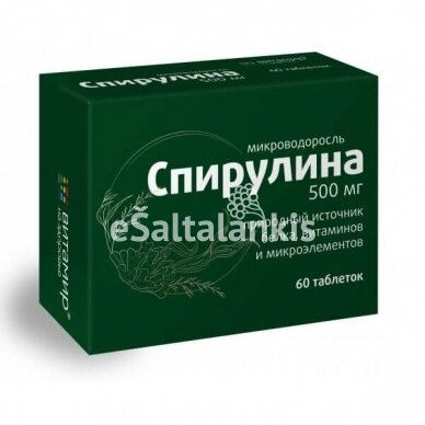 """Maisto papildas Spirulina 500 mg, 60 tab. """"Vitamir"""""""